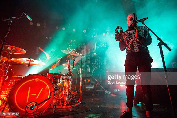 Josh Dun and Tyler Joseph of Twenty One Pilots performs at St Andrews Hall on December 17 2015 in Detroit Michigan