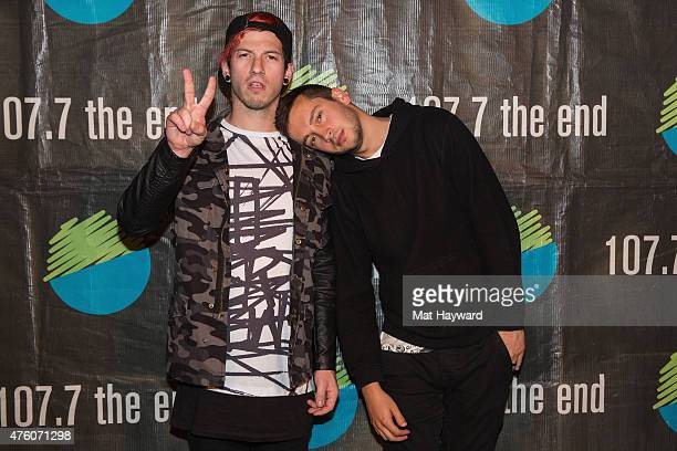 Josh Dun and Tyler Joseph of Twenty One Pilots pose for a photo after performing an EndSession hosted by 1077 The End on June 5 2015 in Seattle...