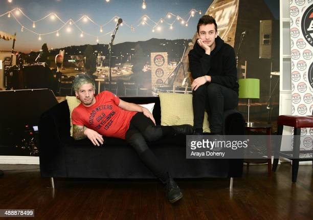 Josh Dun and Tyler Joseph of Twenty One Pilots pose for a photo shoot at the ALT 987 penthouse party at the historic Hollywood Tower on May 8 2014 in...