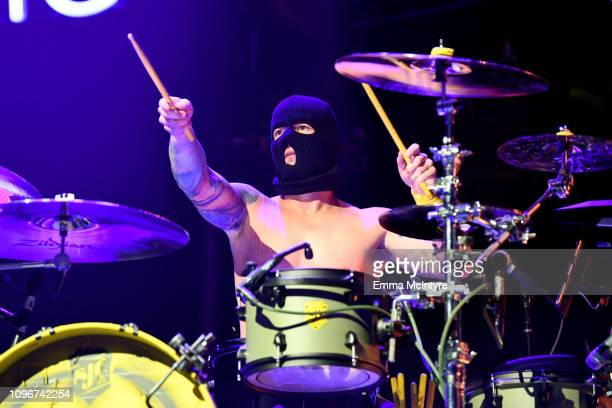 USE>> Josh Dun of Twenty One Pilots performs on stage during 2019 iHeartRadio ALTer Ego at The Forum on January 19 2019 in Inglewood California