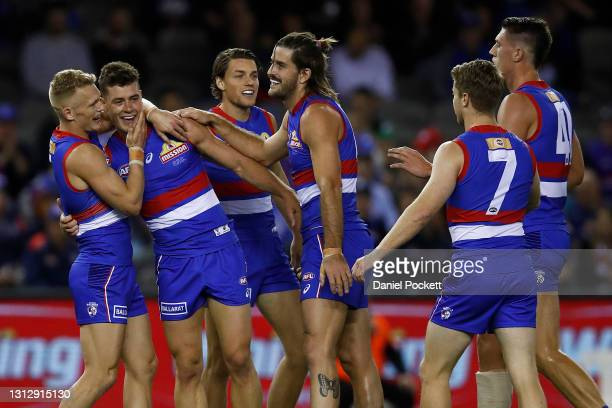 Josh Dunkley of the Bulldogs celebrates a goal during the round five AFL match between the Western Bulldogs and the Gold Coast Titans at Marvel...