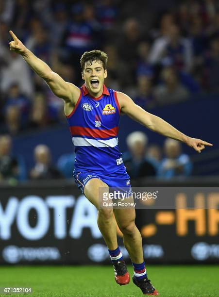 Josh Dunkley of the Bulldogs celebrates kicking a goal during the round five AFL match between the Western Bulldogs and the Brisbane Lions at Etihad...