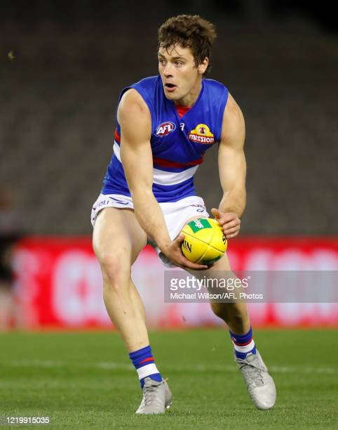Josh Dunkley of the Bulldogs in action during the 2020 AFL Round 02 match between the St Kilda Saints and the Western Bulldogs at Marvel Stadium on...