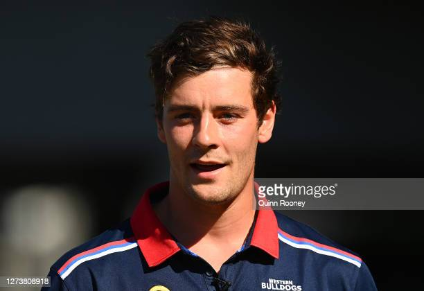 Josh Dunkley of the Bulldogs speaks to the media during an AFL scratch match between the Geelong Cats and the Western Bulldogs at Metricon Stadium...