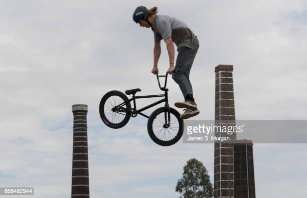 Josh Eaton a BMX bicycle freestyle athlete performs on October 7 2017 in Sydney Australia The Big Adventure at Sydney Park is part of the monthlong...