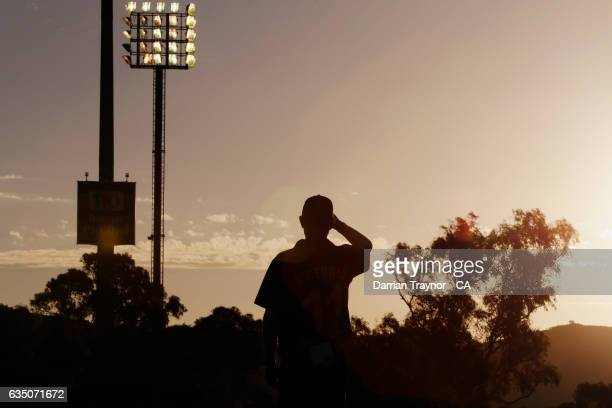 Josh Eaton of Victoria looks into the sun during the National Indigenous Cricket Championships Fianl between New South Wales and Victoria on February...