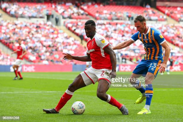 Josh Emmanuel of Rotherham United and Alex Rodman of Shrewsbury Town during the Sky Bet League One Play Off Final between Rotherham United and...
