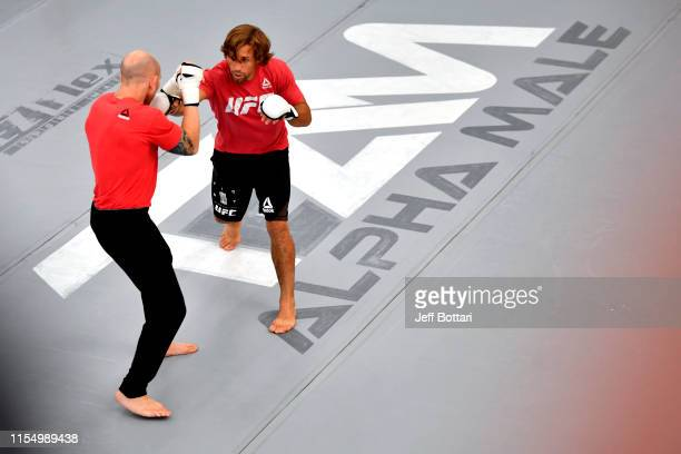 Josh Emmett and Urijah Faber perform for fans and media during the open workouts at Urijah Faber's Ultimate Fitness on July 10 2019 in Sacramento...