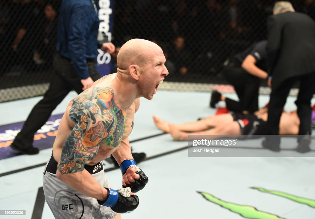 Josh Emmett celebrates his knockout victory over Ricardo Lamas in their featherweight bout during the UFC Fight Night event at Bell MTS Place on December 16, 2017 in Winnipeg, Manitoba, Canada.