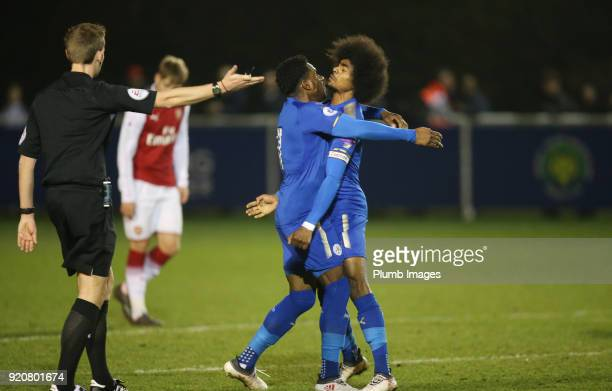Josh Eppiah of Leicester City celebrates with Hamza Choudhury of Leicester City after scoring to make it 20 during the Premier League 2 match between...