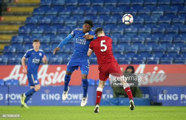 Josh Eppiah of Leicester City in action with Tony Gallacher of Liverpool during the Premier League 2 match between Leicester City and Liverpool at...