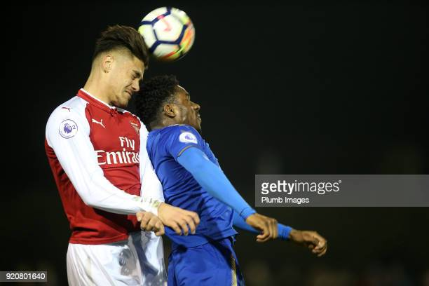 Josh Eppiah of Leicester City in action with Vlad Dragomir of Arsenal during the Premier League 2 match between Leicester City and Arsenal at Holmes...