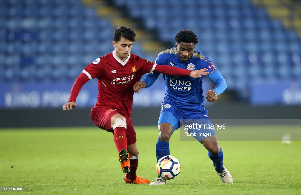 Josh Eppiah of Leicester City in action with Yan Dhanda of Liverpool during the Premier League 2 match between Leicester City and Liverpool at King Power Stadium, on March 5th, 2018 in Leicester, United Kingdom