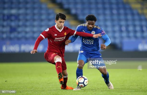 Josh Eppiah of Leicester City in action with Yan Dhanda of Liverpool during the Premier League 2 match between Leicester City and Liverpool at King...