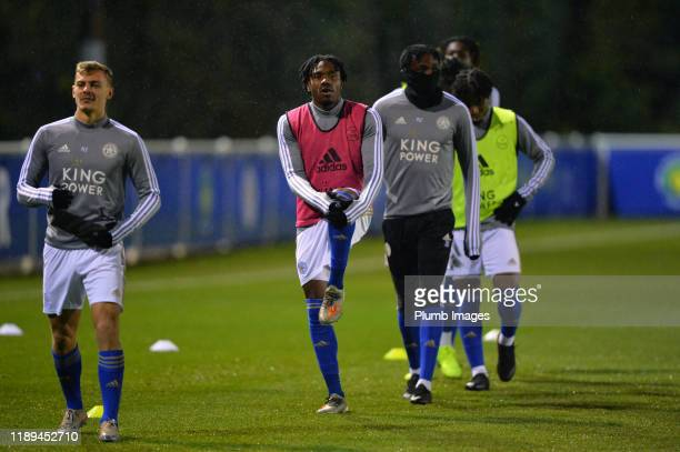 Josh Eppiah of Leicester City warms up before the Leicester City U23 v Villarreal B PL International Cup at Holmes Park on December 18th 2019 in...