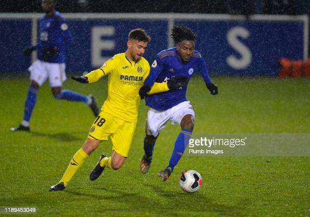 Josh Eppiah of Leicester City with Ramiro Guerra Pereyra of Villarreal during the Leicester City U23 v Villarreal B PL International Cup at Holmes...