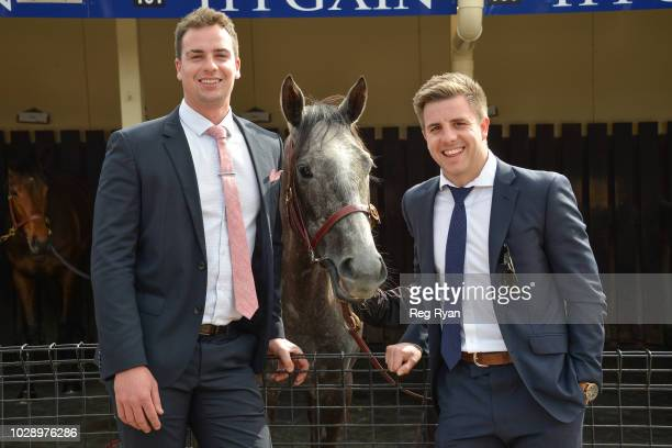 Josh Ferrie and Luke Pignotel with Anjana before the Ladbrokes Atlantic Jewel Stakes at Moonee Valley Racecourse on September 08 2018 in Moonee Ponds...