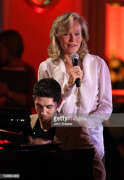 Josh Field perfroms as Brenda Siemer-Scheider speaks at Smiles from the Stars: A Tribute to the Life and Work of Roy Scheider at The Beverly Hills...