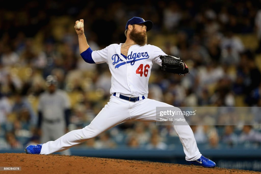 Josh Fields #46 of the Los Angeles Dodgers pitches during a game against the San Diego Padres at Dodger Stadium on September 26, 2017 in Los Angeles, California.