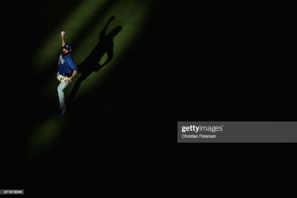 Josh Fields #46 of the Los Angeles Dodgers warms up before game four of the 2017 World Series against the Houston Astros at Minute Maid Park on October 28, 2017 in Houston, Texas.