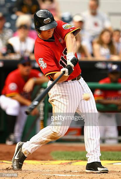 Josh Fields of the U.S.A. Team bats against the World Team during the XM Satellite Radio All-Star Futures Game at PNC Park on July 9, 2006 in...