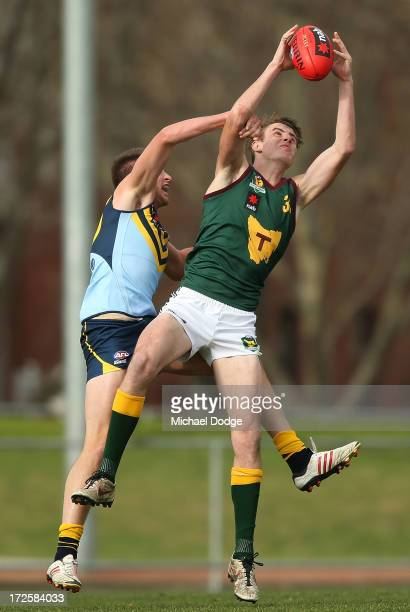 Josh Fox of Tasmania marks the ball during the round five AFL Under 18s Championship match between NSW/ACT and Tasmania at Victoria Park on July 4...