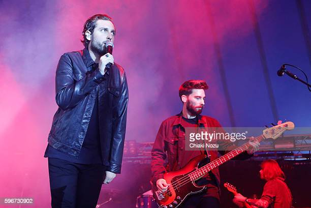 Josh Franceschi and Matt Barnes of You Me At Six perform on Day 2 of Reading Festival at Richfield Avenue on August 27, 2016 in Reading, England.