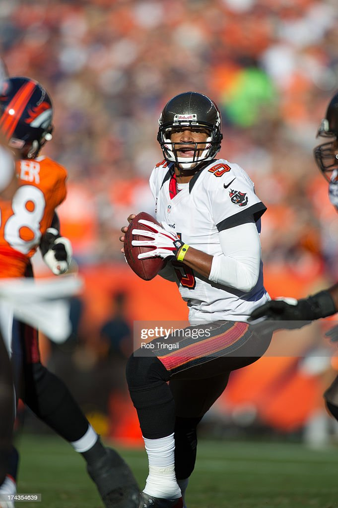 Josh Freeman #5 of the Tampa Bay Buccaneers drops back to pass during the game against the Denver Broncos at Sports Authority Stadium on December 2, 2012 in Denver, Colorado.