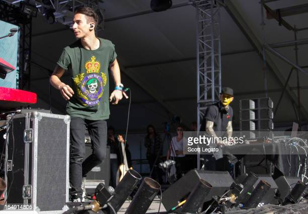 Josh Friend and Tony Friend of Modestep performs during the 2012 Voodoo Experience at City Park on October 28 2012 in New Orleans Louisiana