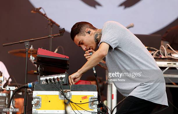 Josh Friend of Modestep performs on Day 2 of the Reading Festival at Richfield Avenue on August 29 2015 in Reading England