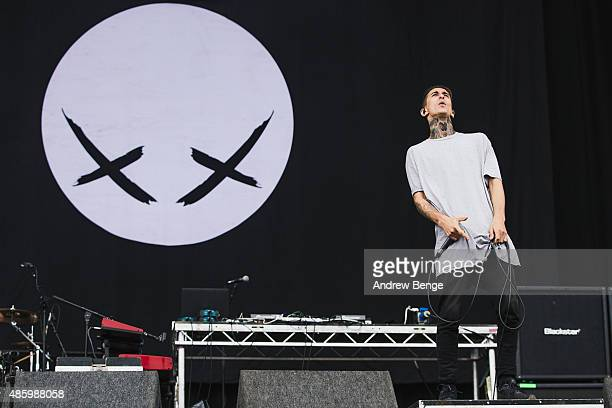 Josh Friend of Modestep performs on the main stage during day 3 of Leeds Festival at Bramham Park on August 30 2015 in Leeds England