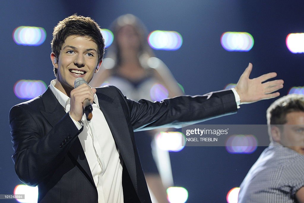 Josh from England performs on stage during a dress rehearsal at the Telenor Arena in Olso, Norway on May 28, 2010. Josh is representing England in the 55th Eurovision Song Contest final will take place on May 29.