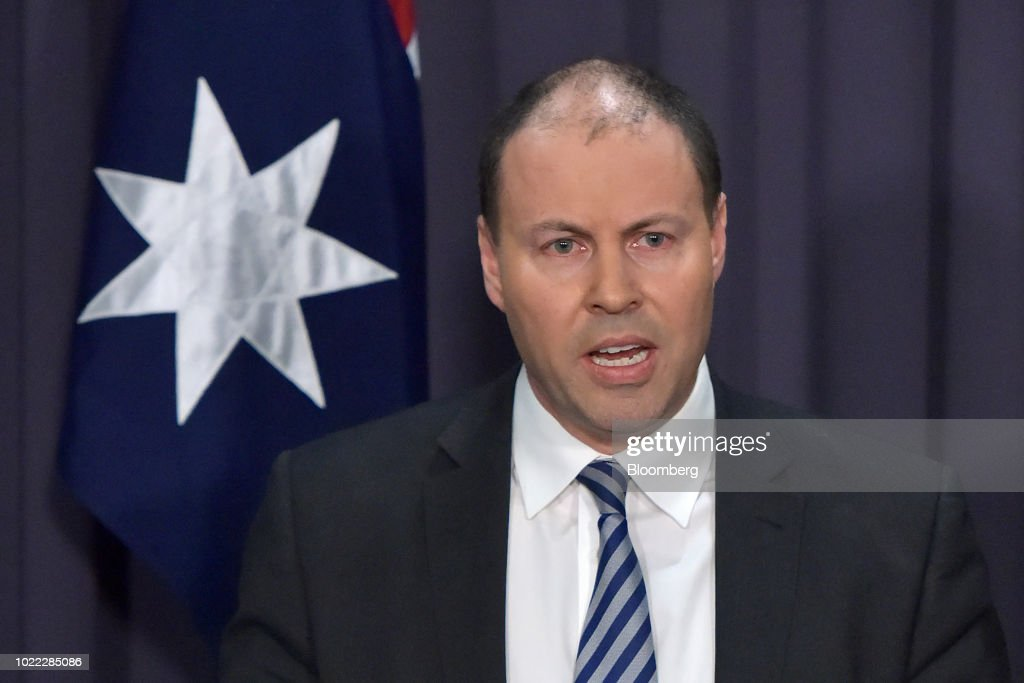 Josh Frydenberg, Australia's energy minister and deputy leader of the Liberal Party, speaks during a news conference in Canberra, Australia, on Friday, Aug. 24, 2018. Treasurer Scott Morrison pledged to bring stability once he becomes Australia's sixth prime minister in 11 years after Malcolm Turnbull relinquished power on Friday in a party coup. Photographer: Mark Graham/Bloomberg via Getty Images