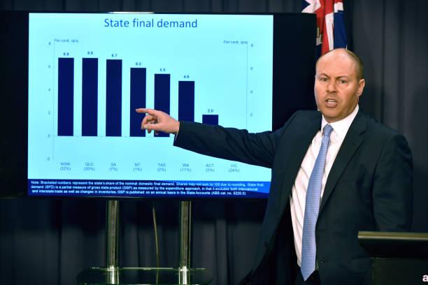 AUS: Australia Treasurer Josh Frydenberg News Conference as Australia's Economy Returns to Growth