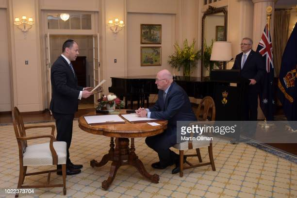 Josh Frydenberg is sworn in as Australian Treasurer by Australia's Governor-General Sir Peter Cosgrove at Government House on August 24, 2018 in...