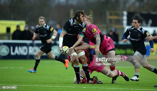 Josh Furno of Newcastle Falcons challenged by Koree Britton and Ben West of London Welsh during the Aviva Premiership rugby match between Newcastle...