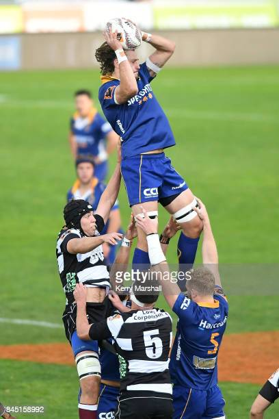 Josh Furno of Otago takes a lineout during the round four Mitre 10 Cup match between Hawke's Bay and Otago at McLean Park on September 10 2017 in...