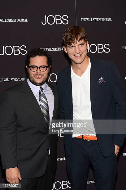 """Josh Gad and Ashton Kutcher attend the """"Jobs"""" New York Premiere at MOMA on August 7, 2013 in New York City."""