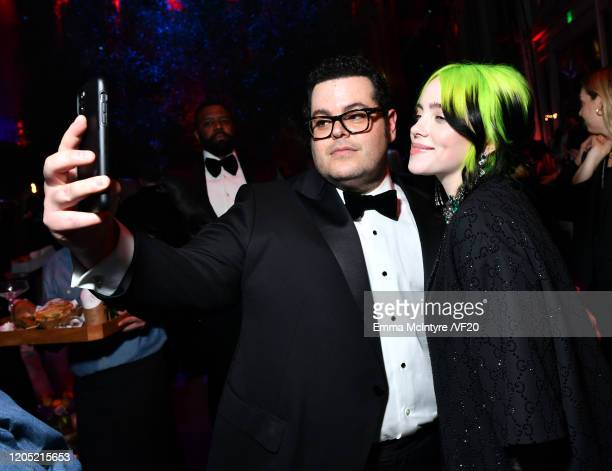 Josh Gad and Billie Eilish attend the 2020 Vanity Fair Oscar Party hosted by Radhika Jones at Wallis Annenberg Center for the Performing Arts on...