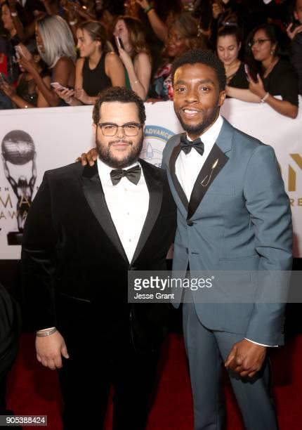 Josh Gad and Chadwick Boseman attend the 49th NAACP Image Awards at Pasadena Civic Auditorium on January 15 2018 in Pasadena California