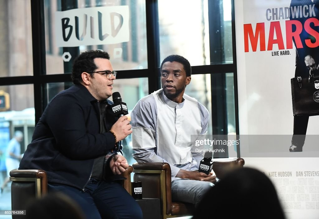 Josh Gad and Chadwick Boseman attend the Build Series to discuss the new movie 'Marshall' at Build Studio on September 25, 2017 in New York City.
