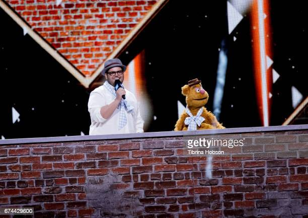 Josh Gad and Fozzie Bear attend 'We Day' California 2017 at The Forum on April 27 2017 in Inglewood California
