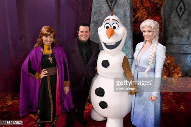 """Josh Gad and Frozen characters attend the premiere of Disney's """"Frozen 2"""" at Dolby Theatre on November 07, 2019 in Hollywood, California."""