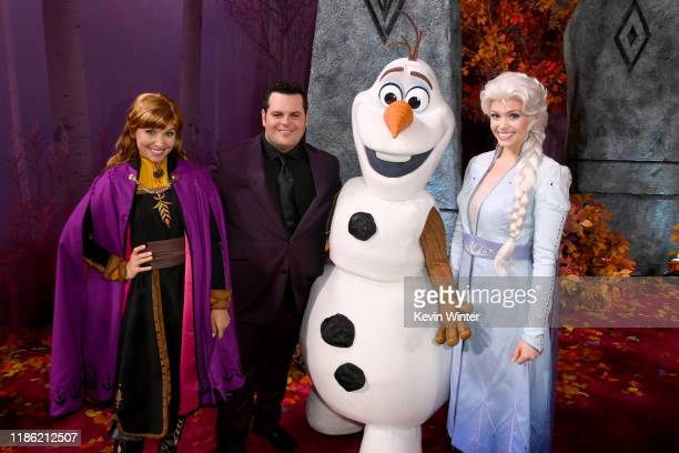 Josh Gad and Frozen characters attend the premiere of Disney's Frozen 2 at Dolby Theatre on November 07 2019 in Hollywood California