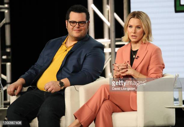 Josh Gad and Kristen Bell of Central Park speak onstage during the Apple TV segment of the 2020 Winter TCA Tour at The Langham Huntington Pasadena on...