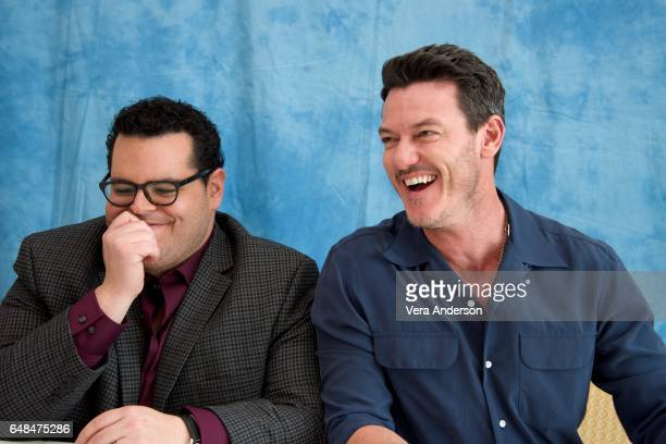 Josh Gad and Luke Evans at the 'Beauty and the Beast' Press Conference at the Montage Hotel on March 5 2017 in Beverly Hills California