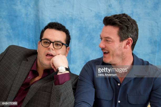 "Josh Gad and Luke Evans at the ""Beauty and the Beast"" Press Conference at the Montage Hotel on March 5, 2017 in Beverly Hills, California."