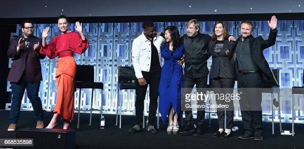 Josh Gad Daisy Ridley John Boyega Kelly Marie Tran Mark Hamill Kathleen Kennedy and Rian Johnson attend the Star Wars Celebration day 02 on April 14...