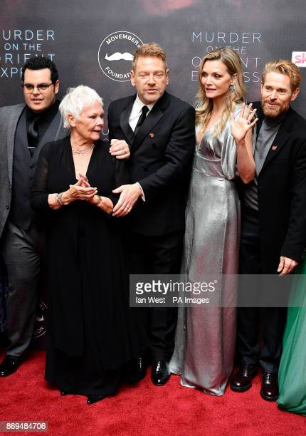 Josh Gad Dame Judi Dench Sir Kenneth Branagh Michelle Pfeiffer and Willem Dafoe attending the world premiere of Murder On The Orient Express at the...