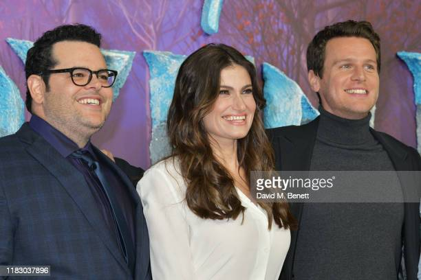 Josh Gad Idina Menzel and Jonathan Groff attend the European Premiere of Frozen 2 at the BFI Southbank on November 17 2019 in London England